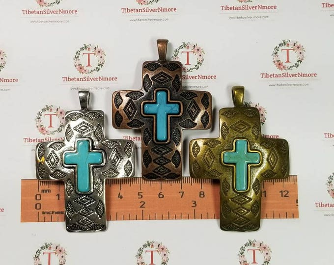 1 pc per pack 70x49mm Textures print Cross Pendant with Turquoise color to choose Lead Free Pewter