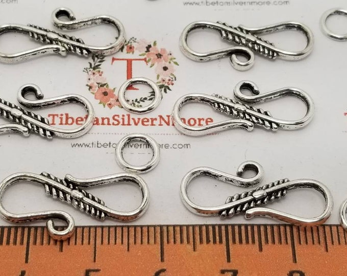24 sets per pack 23x8mm  S Hooks Clasp with 1 soldered Loop Antique Silver Finish Lead free Pewter
