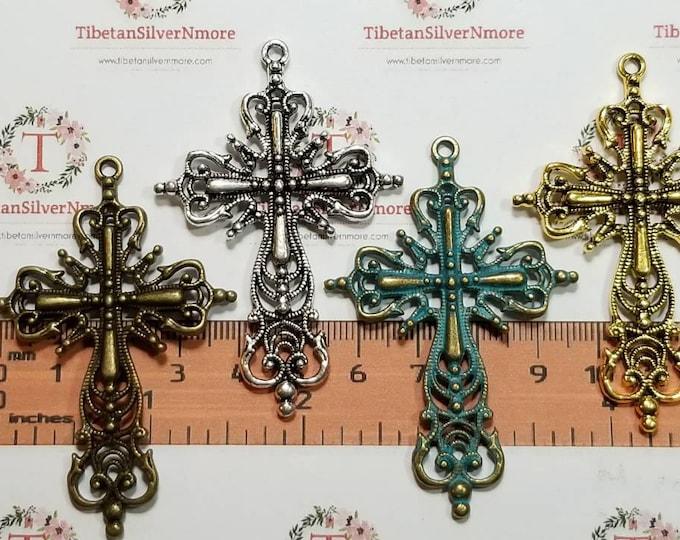 3 pcs per pack 60x40mm Filigree Cross Pendant color to choose Lead Free Pewter