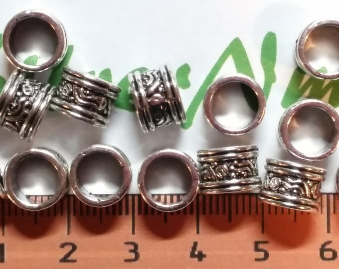 20 pcs per pack 8x6mm Bali style 6.5mm diameter Large Hole Tube Antique Silver Lead Free Pewter