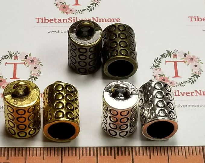 6 pcs per pack 14x10mm 7mm diameter 12mm depth design End Cord in color to choose Lead Free Pewter