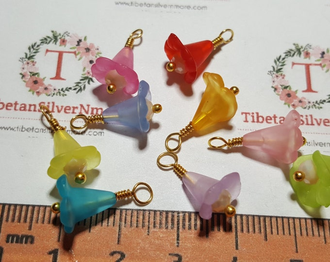 9 pcs per pack 16x8mm made in USA Tiny Flower Charm Gold Finish base metal wire and Multicolor Lucite Flower