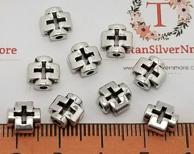 26 pcs per pack 8mm 3mm thickness 1.5mm hole Reversible Cutout square Cross Bead in Silver tone Lead free Pewter