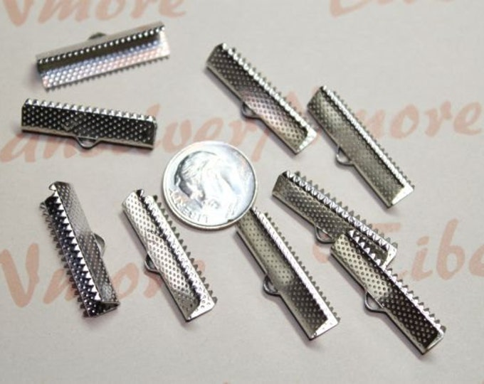 36 pcs per pack large 24mm (1 inch) wide Base metal Shiny Silver Pinch End Cord.