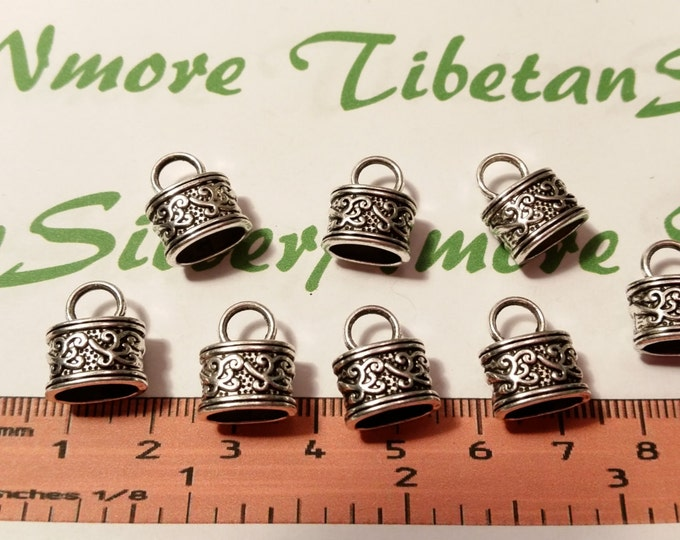 10 pcs per pack of 11x9x8mm inner diameter 9x6mm Decorated Oval End Cord Antique Silver Finish Lead Free Pewter