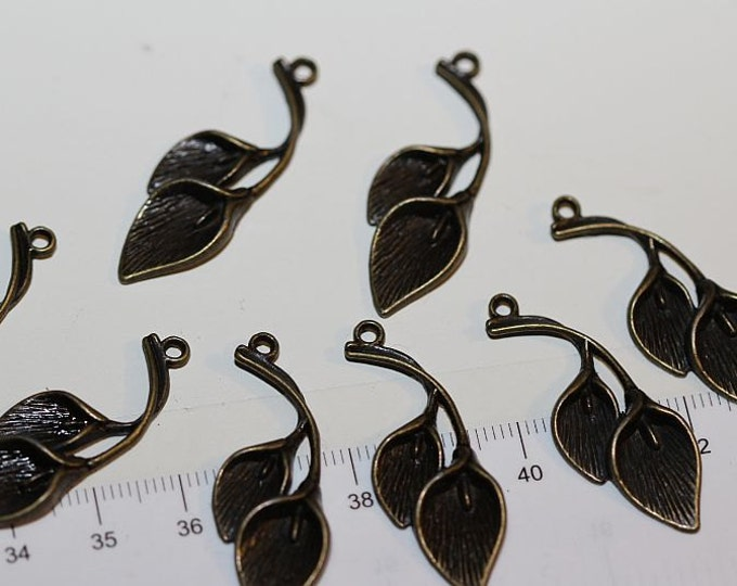 12 pcs per pack of 37x12mm Flamingo Lily Flower Charms Antique Bronze Lead Free Pewter