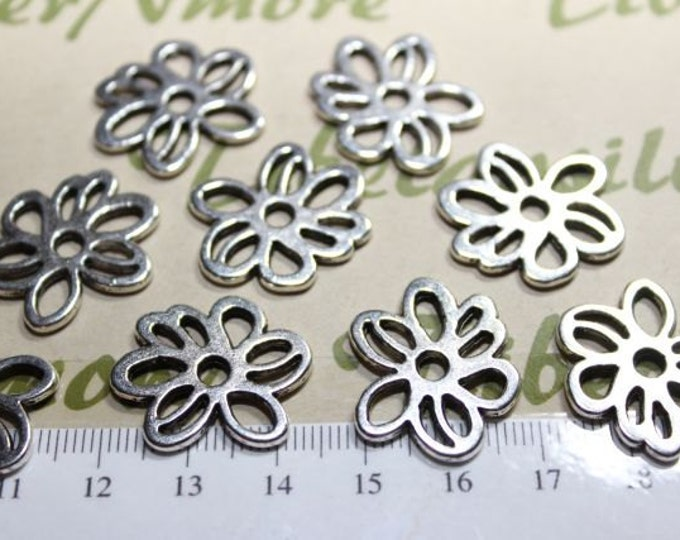 10 pcs per pack 24mm Rose Flower Cuts Link Antique Silver Finish Lead free Pewter