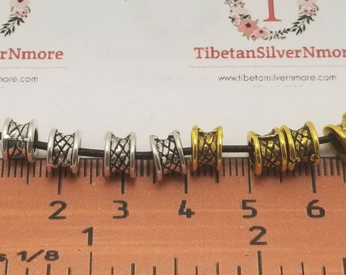 36 pcs per pack 7x5mm Rondelle Spacer Bead Textured Antique Silver or Gold Finish Lead Free Pewter
