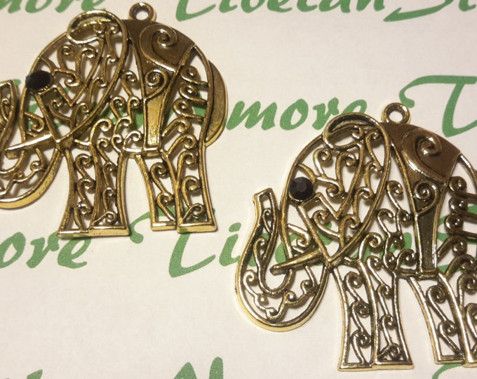 2 pcs per pack 54x50mm 3mm thickness Filigree Elephant Pendant Antique Silver or Gold Finish Lead Free Pewter Large.