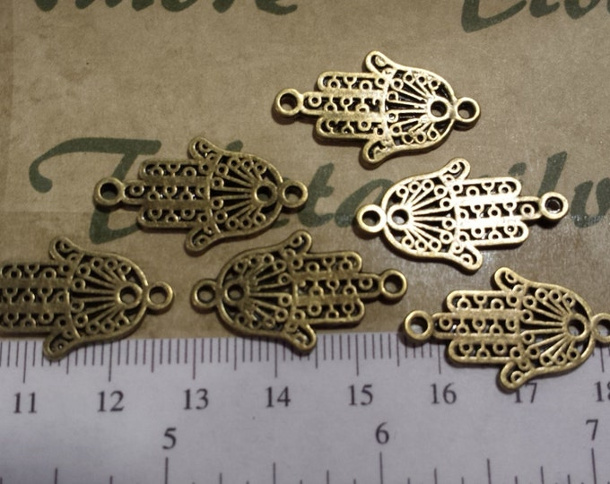 16 pcs per pack 26x14mm Filigree Hamsa Hand of Fatima Link in Antique Bronze Lead free Pewter