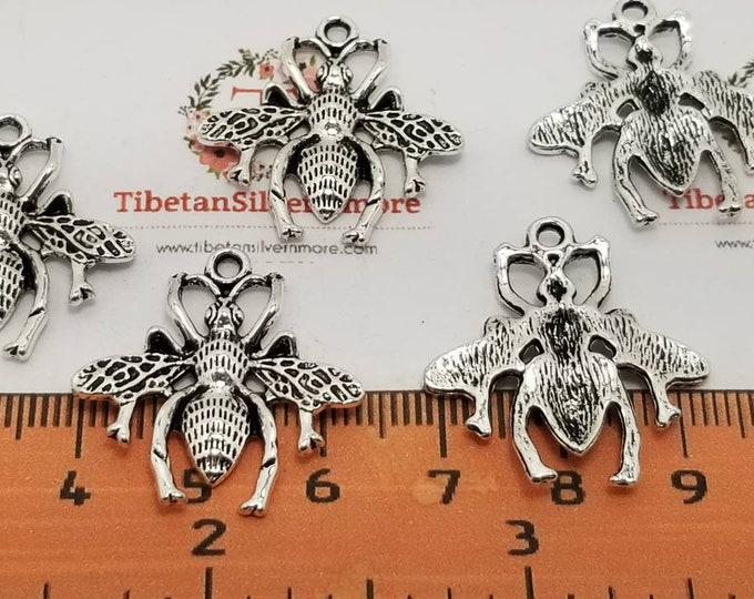12 pcs per pack 25x24mm One side Bumble Bee Charm Antique Silver Finish Lead free Pewter