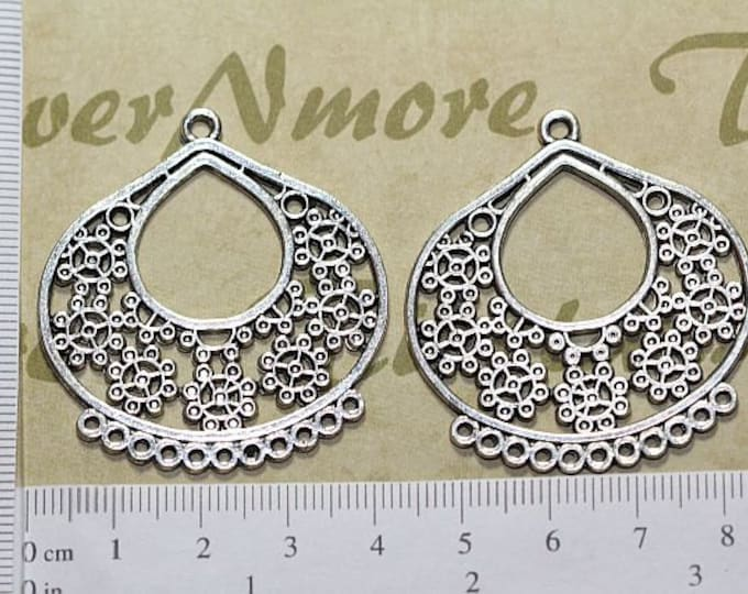 2 pcs per pack 40x45mm 11 Loops Chandelier Filigree Earring Component Antique Silver Finish Lead free Pewter