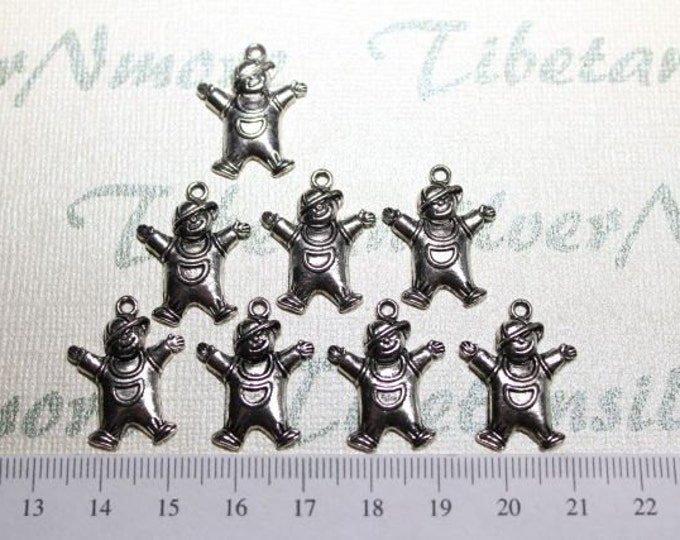 18 pcs per pack 20x14mm Baby Boy in overall Charm Antique Silver Finish Lead Free Pewter