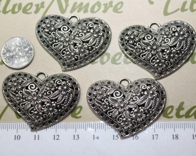 4 pcs per pack 40x30mm Filigree Flower Heart Pendant Antique Silver lead free Pewter.