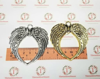 2 pcs per pack 72x68mm XL One Side Double Wings Charm Antique Silver or Gold Finish Lead Free Pewter