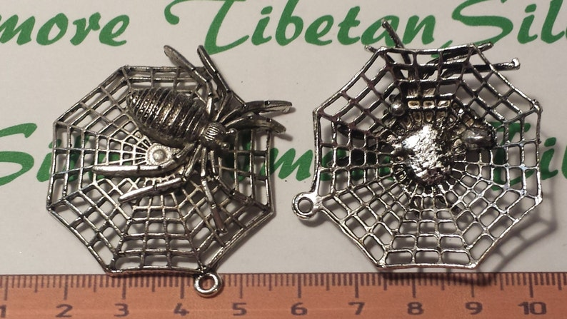 2 pcs per pack 50x49mm Large Spider Web Pendant Antique Silver Finish Lead free Pewter