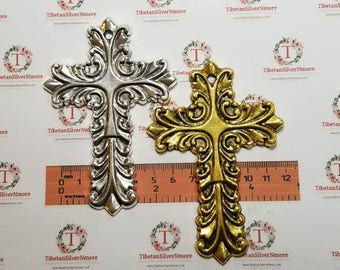 2 pcs per pack 96x56mm Print Stamp Extra Large Cross Pendant Antique Silver or Gold Finish Lead Free Pewter