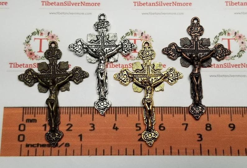 5 pcs per pack 48x31mm Medium Crucifix Antique Silver Copper image 0