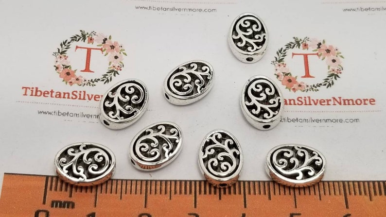 20 pcs per pack 12x9x3.5mm reversible Filigree Oval beads image 0