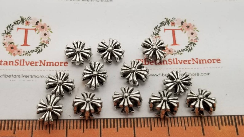 30 pcs per pack 7x5mm Corrugated Cross Beads 1.5mm double hole image 0