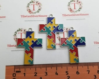 3 pcs per pack 36x25mm Enamel Colorful Puzzle Cross charm for Autism Awareness Antique Silver Finish Lead Free Pewter