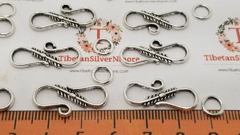 24 sets per pack 23x8mm  S Hooks Clasp with 1 soldered Loop image 0
