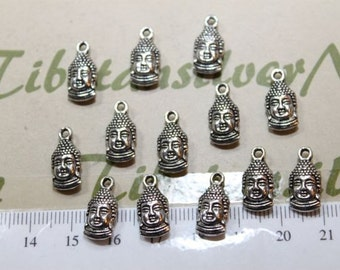 18 pcs per pack 8x12mm Reversible Buddha Face Charm Antique Silver or Bronze Finish Lead Free Pewter