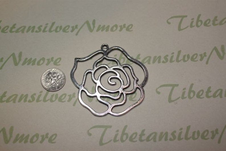 3 pcs per pack 56mm Large Rose Flower Cuts Pendant Antique Silver Finish Lead free Pewter
