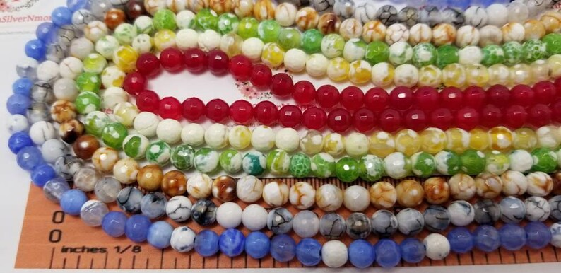 1 strand approx. 64 beads of 6mm Faceted Round cracked color image 0