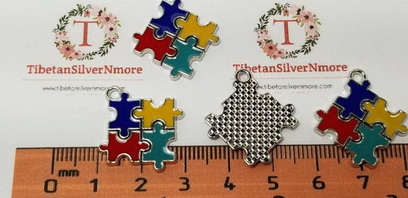 5 pcs per pack 18mm Enamel Colorful Puzzle Square charm for image 0