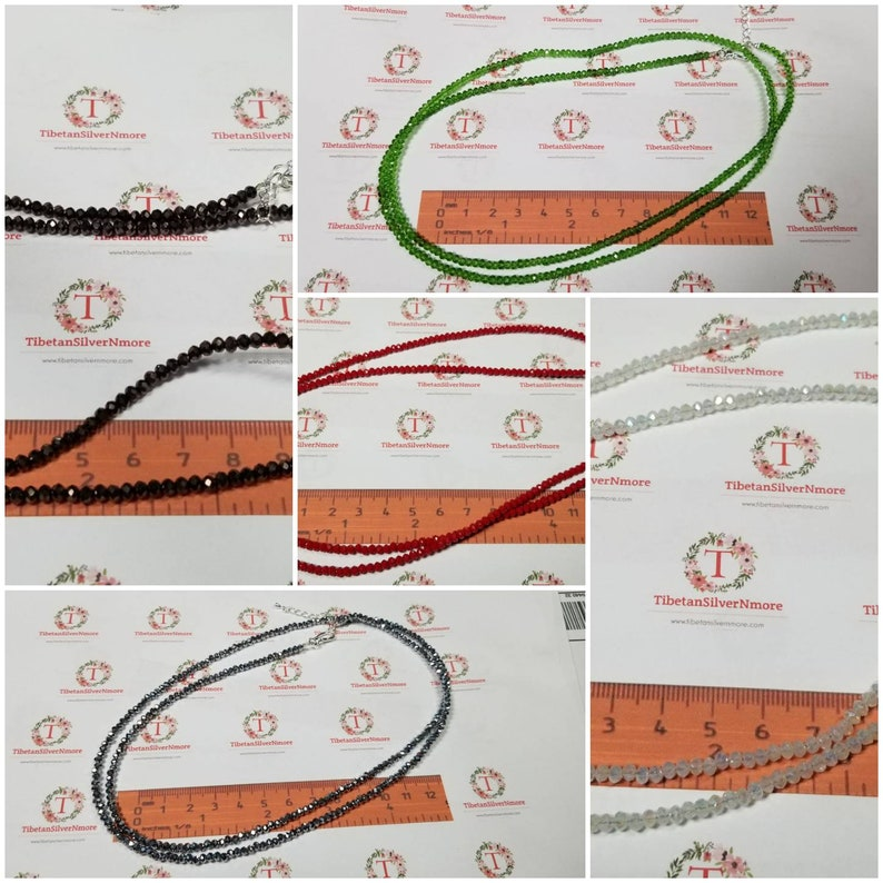 32 Inches 3x2mm Crystal Necklace plus Extension faceted image 0
