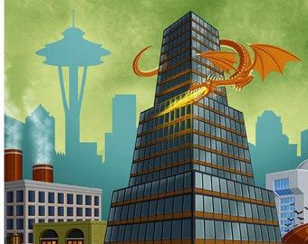 Drake Tower : Seattle (Shadowrun) - 11x14 Giclee Print