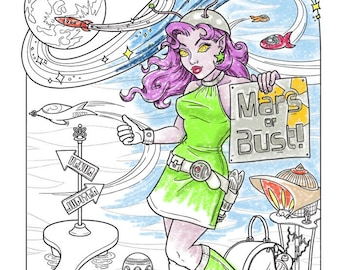 Mars or Bust! - Coloring Page - Instant Download