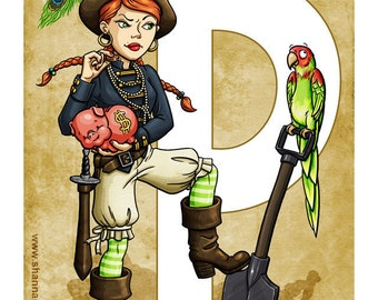P is for Pirate - 8x10 Giclee Print