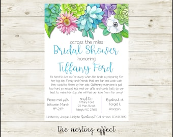 across the miles bridal shower invitation custom printable long distance shower