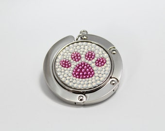 f3865a61fd Paw foldable Bag hanger, purse hook, bag holder made with Swarovski  flatback crystals - Pink x White