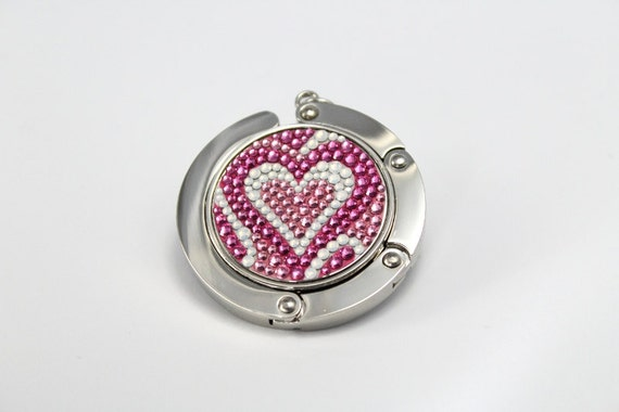 5c2d71b3e4 Items similar to Pucci Heart foldable bag hanger, purse hook, bag holder  made with Swarovski flatback crystals - Pink on Etsy