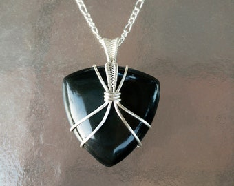 Trillion Rainbow Obsidian Pendant, Obsidian Necklace, Black Obsidian Jewelry, Silver Wire-Wrapped Crystal Pendant