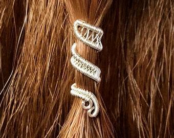 "Viking Jewelry, Viking Hair Beads, Viking Hair jewelry, Braid Beads, Hair Clips, Custom ""FairyTail"" Wire-Wrapped Hair Cuff"