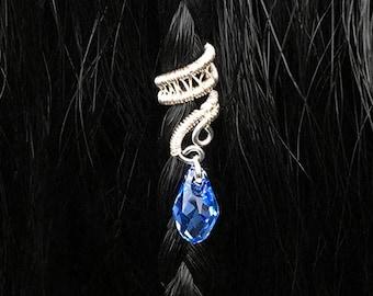 Mini Hair Cuffs, Swarovski Hair Jewel, Teardrop Hair Beads, Braids or Dreads NOT NEEDED, Wire Hair Cuffs, Silver Hair Bead