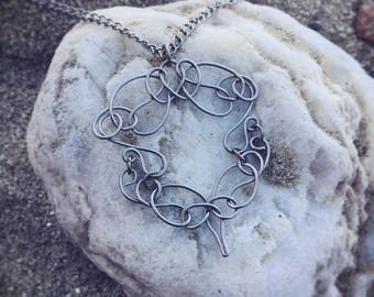 Wire Necklace for Women, Necklace Gift for Her, Steel Statement Necklace, Wire Pendant Necklace, Stainless Steel