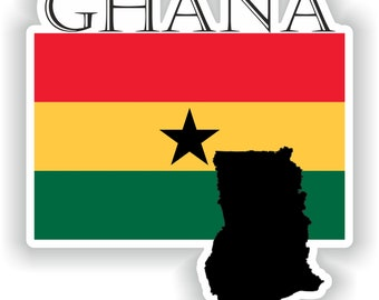 Sticker car moto map flag vinyl outside wall decal macbbook ghana