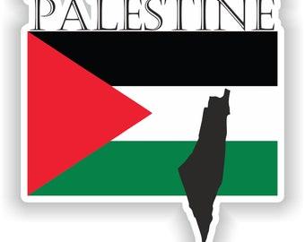Sticker car moto map flag vinyl outside wall decal macbbook palestine gazza