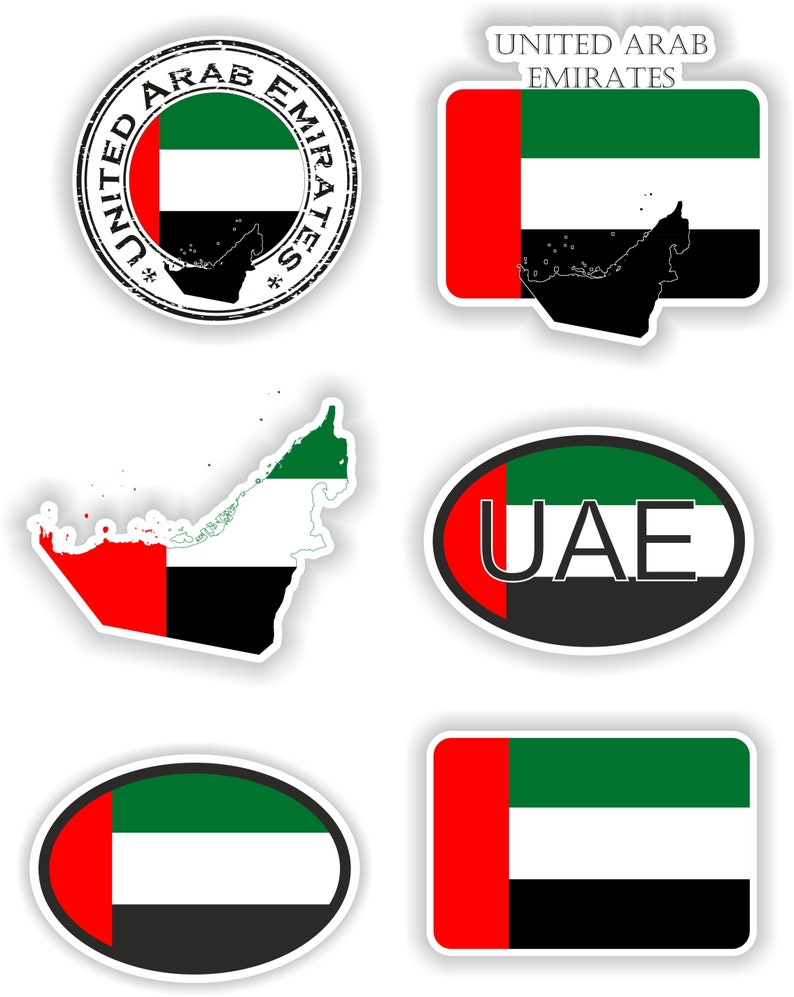 United Arab Emirates Set of Stickers for Laptop Book Water Bottle Fridge Guitar Motorcycle Helmet ToolBox Door PC Boat