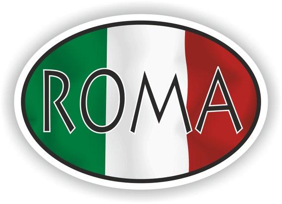 Roma Italien Land Code Ovale Aufkleber Mit Flagge Für Stoßstange Laptop Buch Kühlschrank Helm Toolbox Tür Pc Schutzhelm Werkzeug Koffer Locker Lkw