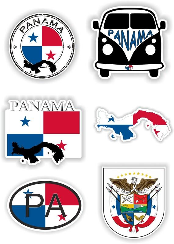 Panama Set of Stickers for Laptop Book Water Bottle Fridge Guitar Motorcycle Helmet ToolBox Door PC Boat