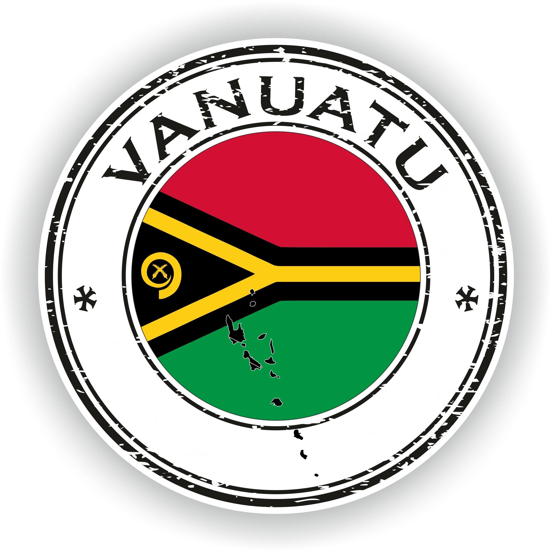 Vanuatu Seal Sticker Round Flag for Laptop Book Fridge ...