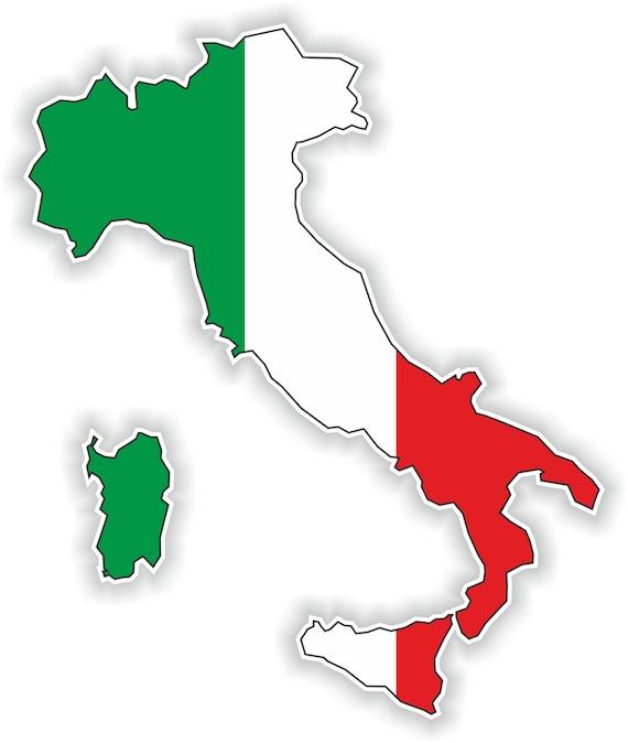 Italien Karte Flagge Silhouette Aufkleber Für Laptop Buch Kühlschrank Gitarre Motorrad Helm Toolbox Tür Pc Boot