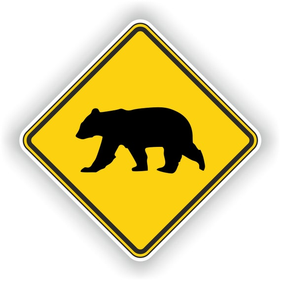 Sticker decal warning car laptop fridge macbook road sign warning polar bear