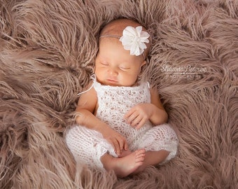 PDF Knitting Pattern - newborn photography prop_Tiny flowers jumpsuit_overalls #108